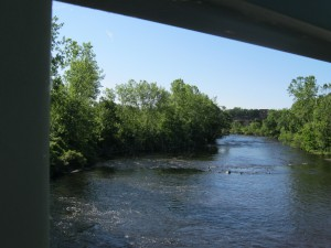 The view from the bridge of the Blackstone River between Cumberland and Lincoln RI.