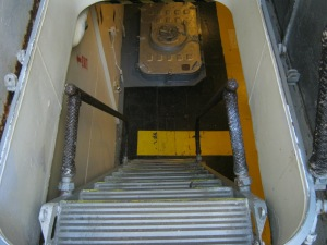 A staircase on the USS Salem