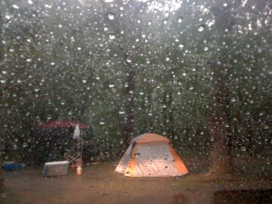 Rain at the campground.