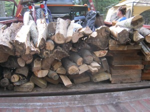 The firewood in the back of the pickup truck.